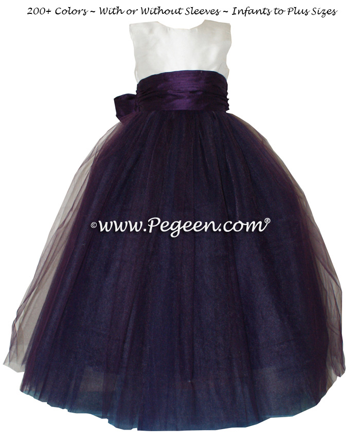 Flower girl dress white and deep plum ballerina style with tulle | Pegeen