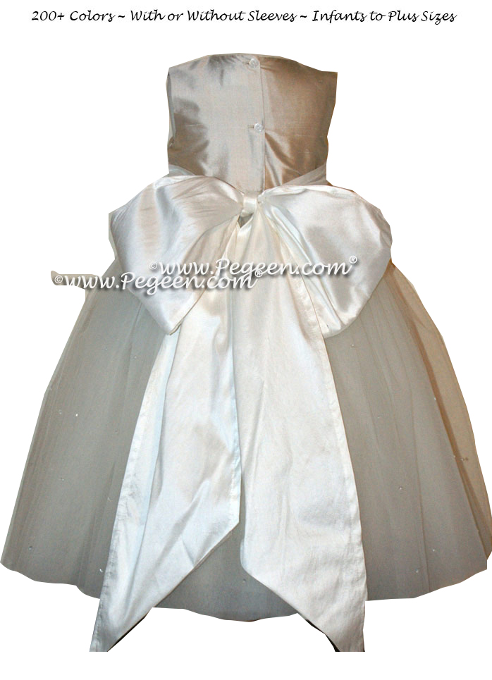 PLATINUM AND Antique White BLUE ballerina style FLOWER GIRL DRESSES with layers and layers of tulle