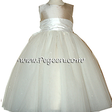 platinum silver and Antique White tulle and silk flower girl dresses