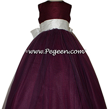 Eggplant and bisque silk and  tulle ballerina style flower girl dresses Style 402 Pegeen