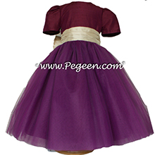Eggplant and Pure Gold silk and  tulle ballerina style flower girl dresses Style 402 Pegeen
