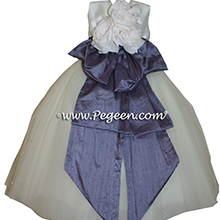 FLOWER GIRL DRESS IN EUROLILAC TULLE AND PEGEEN SIGNATURE BUSTLE