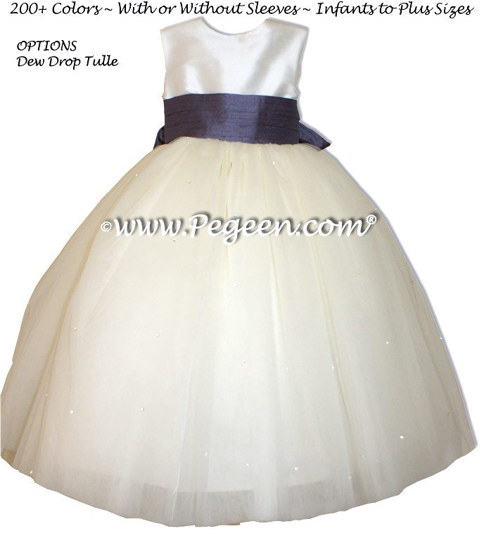 urolilac and New Ivory Silk with Dewdrop Tulle silk flower girl dresses