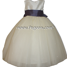 Eurolilac and New Ivory Silk with Dewdrop Tulle silk flower girl dresses 402 by Pegeen
