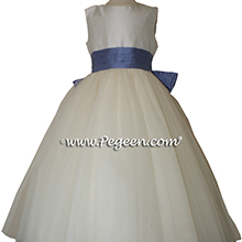 Europeri and ivory tulle flower girl dress