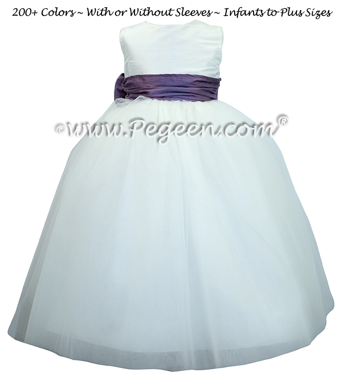 Flower Girl Dresses White Silk and Euro-peri Tulle ballerina style  | Pegeen