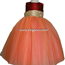 Claret Red and Pure Gold ballerina style FLOWER GIRL DRESSES with layers and layers of tulle in Melon, Claret Red and Pure Gold tulle flower girl dresses