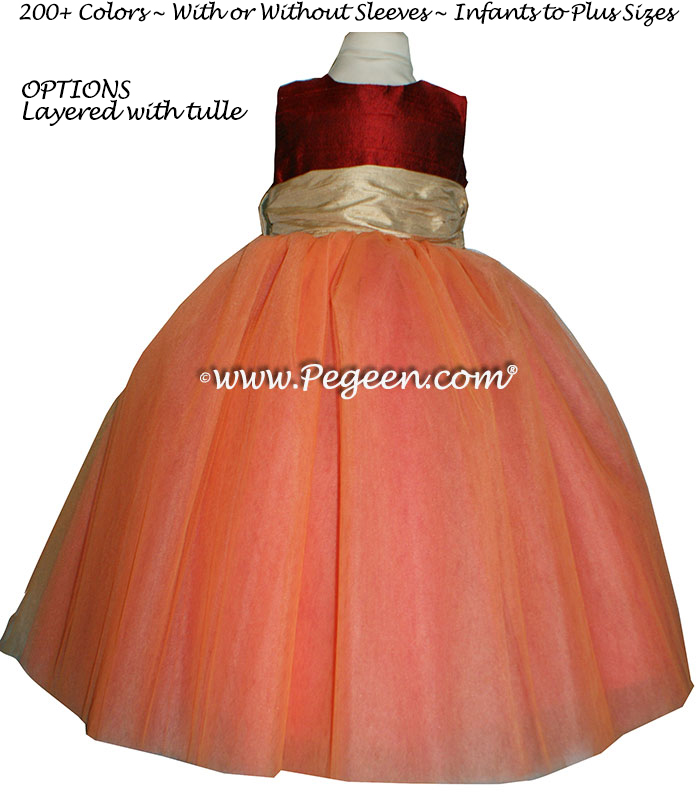 Melon, Claret Red and Pure Gold tulle ballerina FLOWER GIRL DRESSES - Degas style