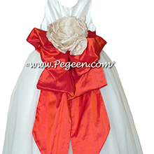 Fire Orange and Antique White Silk and Tulle ballerina style Flower Girl Dresses