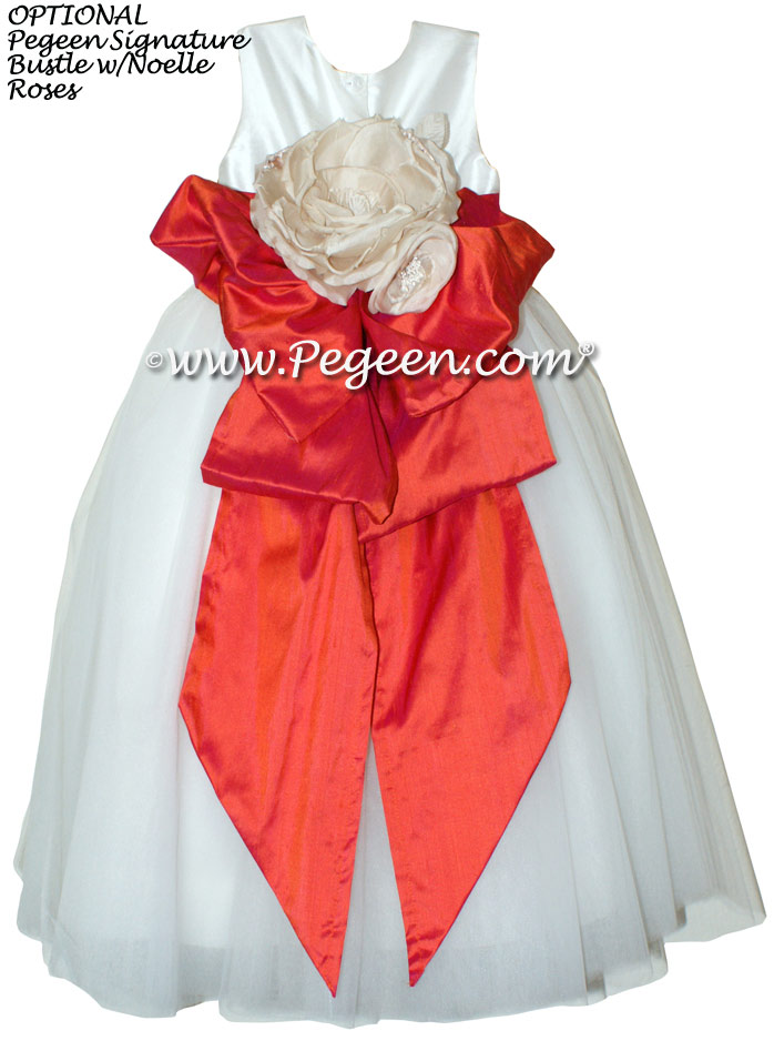 Fire (Orangish Red) ballerina style Flower Girl Dresses with layers and layers of tulle
