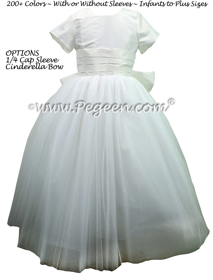 Antique White Tulle Flower Girl Dresses with Ruffled Sash