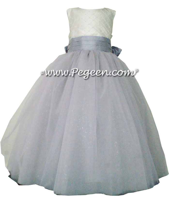 Light Orchid and New Ivory with pintuck and pearls silk ballerina style FLOWER GIRL DRESSES with layers and layers of tulle