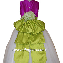 Fuschia pink, green and white tulle silk flower girl dresses