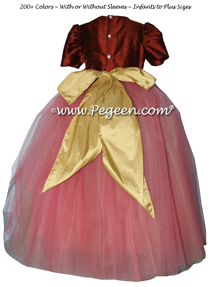 Flower Girl Dress Style 402 in Mountain Fall and Spun Gold Silk   Pegeen