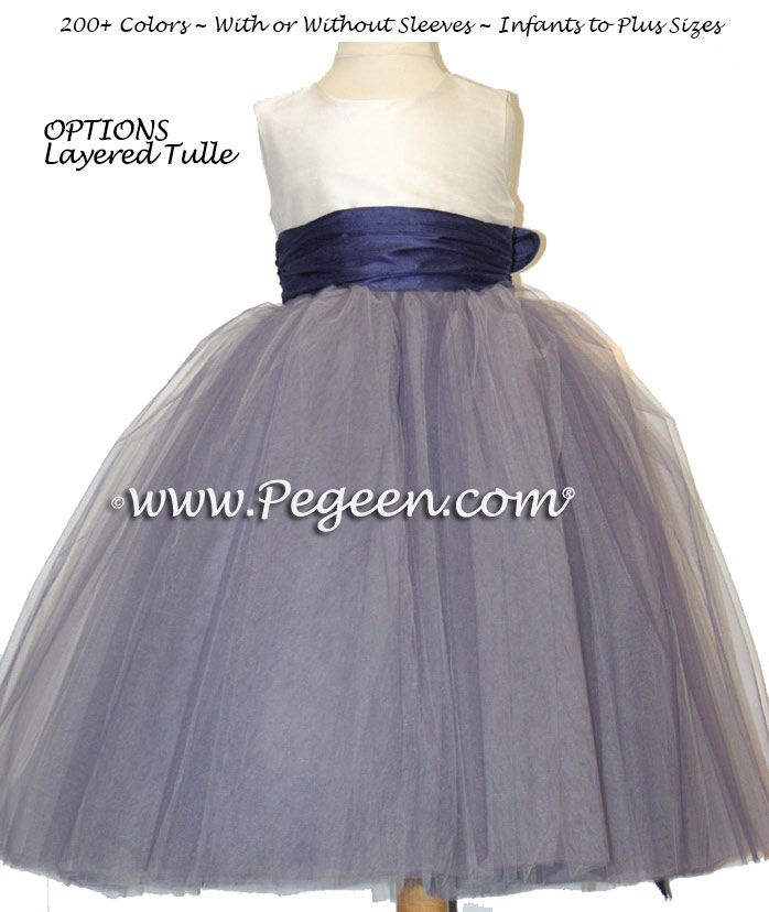 FLOWER GIRL DRESSES in Grape (bluish-purple) and New Ivory with Multi-Layered Tulle