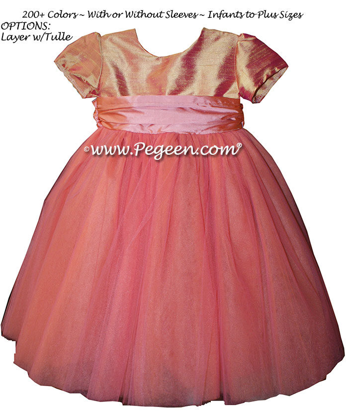 Pegeen's Coral Rose, grapefruit and playtime and orange shades of silk and Tulle Degas Style FLOWER GIRL DRESSES with 10 layers of tulle