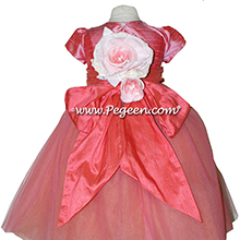 Gumdrop and Melon and orange shades ballerina style FLOWER GIRL DRESSES with layers and layers of tulle