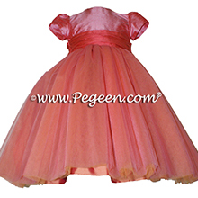 Gumdrop pink and melon silk and tulle flower girl dresses