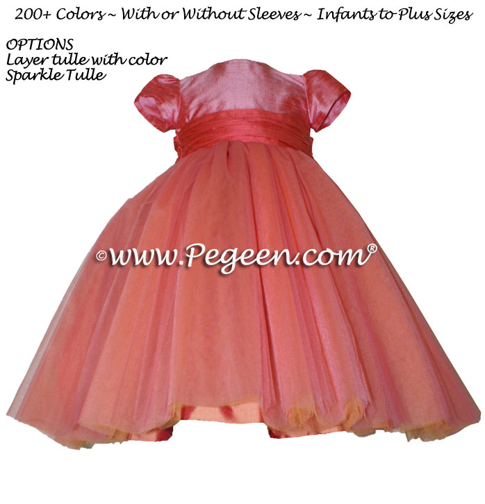 Pegeen's Gumdrop pink and melon and orange shades of silk and Tulle Degas Style FLOWER GIRL DRESSES with 10 layers of tulle