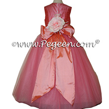 Gumdrop pink and Sherbert (coral) silk flower girl dresses 402 Gumdrop