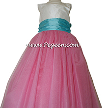 Tulle, Gumdrop pink and Tiffany blue with Antique White silk Flower Girl Dresses by PEGEEN