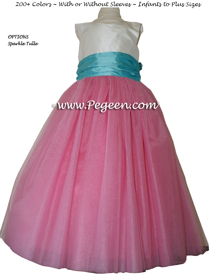 Gumdrop pink and Tiffany blue FLOWER GIRL DRESSES