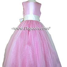Hot Pink and Hibiscus Tulle Flower Girl Dresses with multiple layers of Tulle