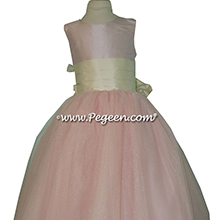 Peony Pink and Bisque tulle ballerina style Flower Girl Dresses with a Pegeen Signature Bustle