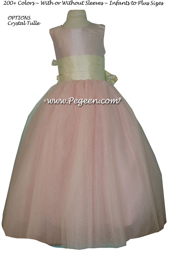 Bisque (creme) and Ballet Pink silk and tulle  flower girl dress