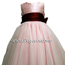Flower girl Dresses with tulle in hibiscus pink and claret red