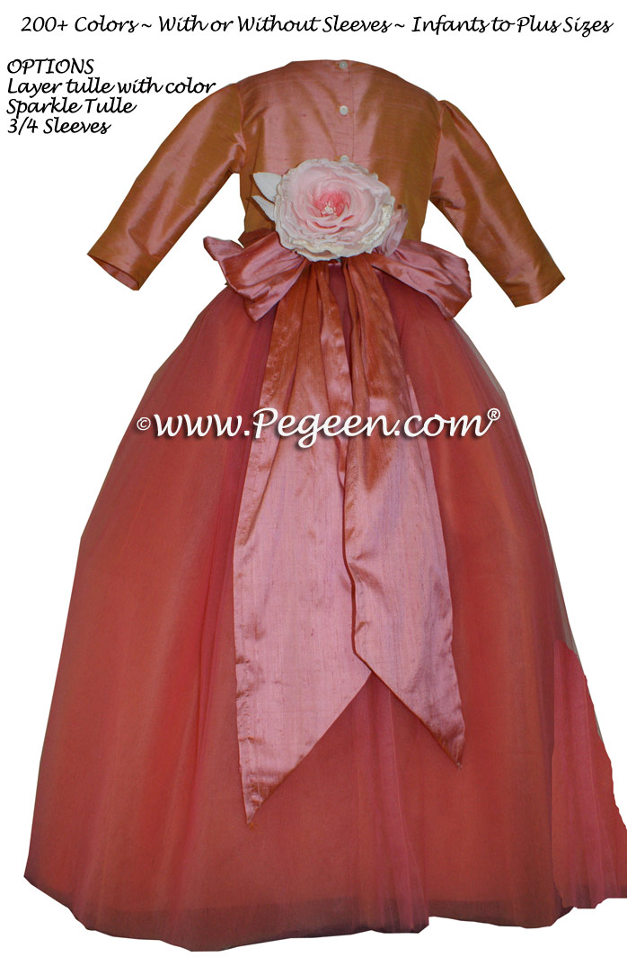 Pegeen's Coral Rose and orange shades of silk and Tulle Degas Style FLOWER GIRL DRESSES with 10 layers of tulle