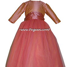 Icing and Coral Rose long sleeve Flower Girl Dresses