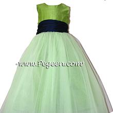 KEY LIME GREEN AND NAVY TULLE Flower Girl Dresses