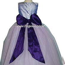 Lilac and Lavender ballerina style Flower Girl Dresses with Deep Plum Sash