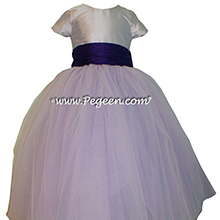 Lavender and Deep Tulle flower girl dresses Pegeen Couture Style 402