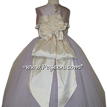 Lavender tulle ballerina style flower girl dresses with a Pegeen Signature Bustle