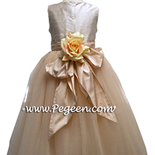 CHAMPAGNE PINK AND PEACH flower girl dresses