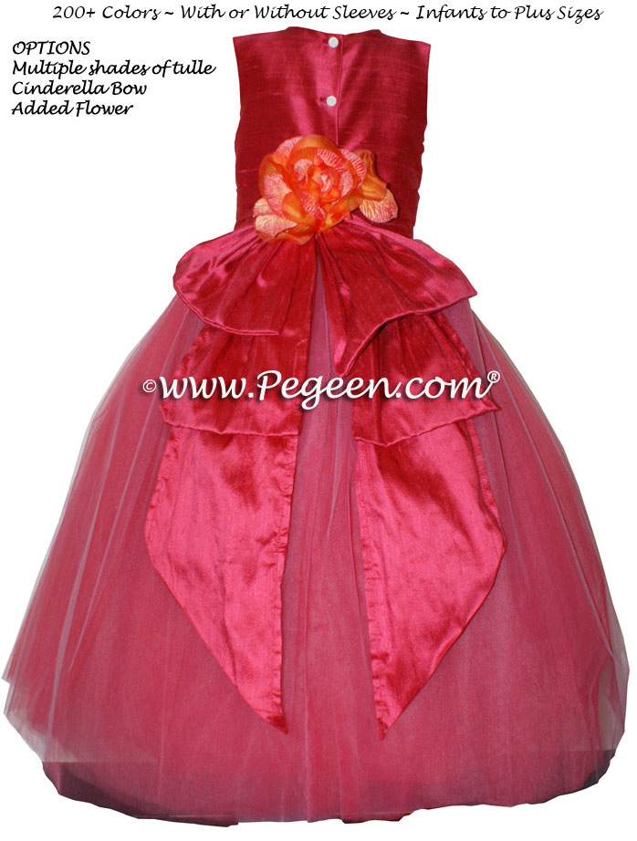 Lipstick (dark reddish-pink)  metallic ballerina style FLOWER GIRL DRESSES with layers and layers of tulle