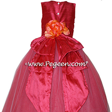 Lipstick (dark reddish-pink) ballerina style Flower Girl Dresses with layers and layers of tulle