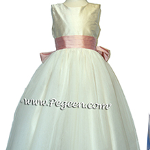 bisque ivory and lotus pink tulle flower girl dresses