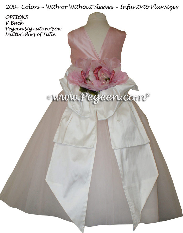 Peony Pink silk and tulle flower girl dress from Pegeen Couture style 402