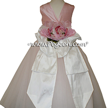 Lotus Pink and White Tulle ballerina style Flower Girl Dresses with layers and layers of tulle by Pegeen