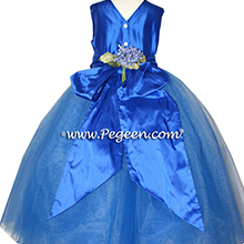 MALIBU BLUE AND ROYAL BLUE Tulle ballerina style Flower Girl Dresses with layers and layers of tulle