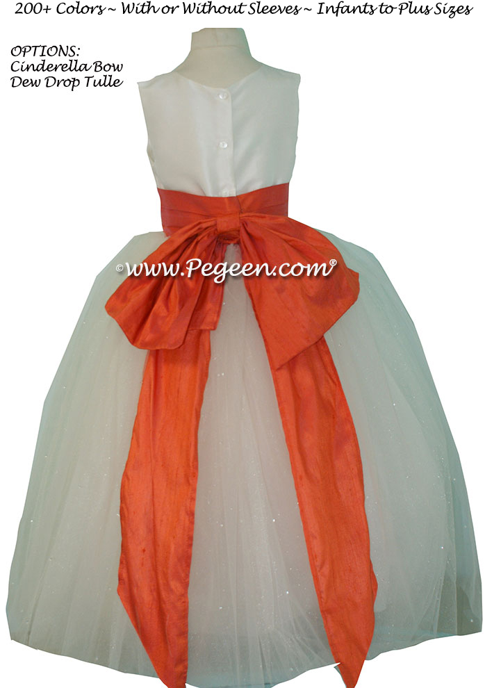 Mango (orange) and New Ivory Dew Drop tulle flower girl dresses
