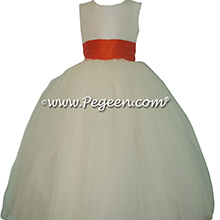Mango (Orange)and New Ivory tulle couture flower girl dress