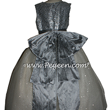 Silver Gray and Glitter Tulle Flower Girl Dresses Metallic Sparkle to