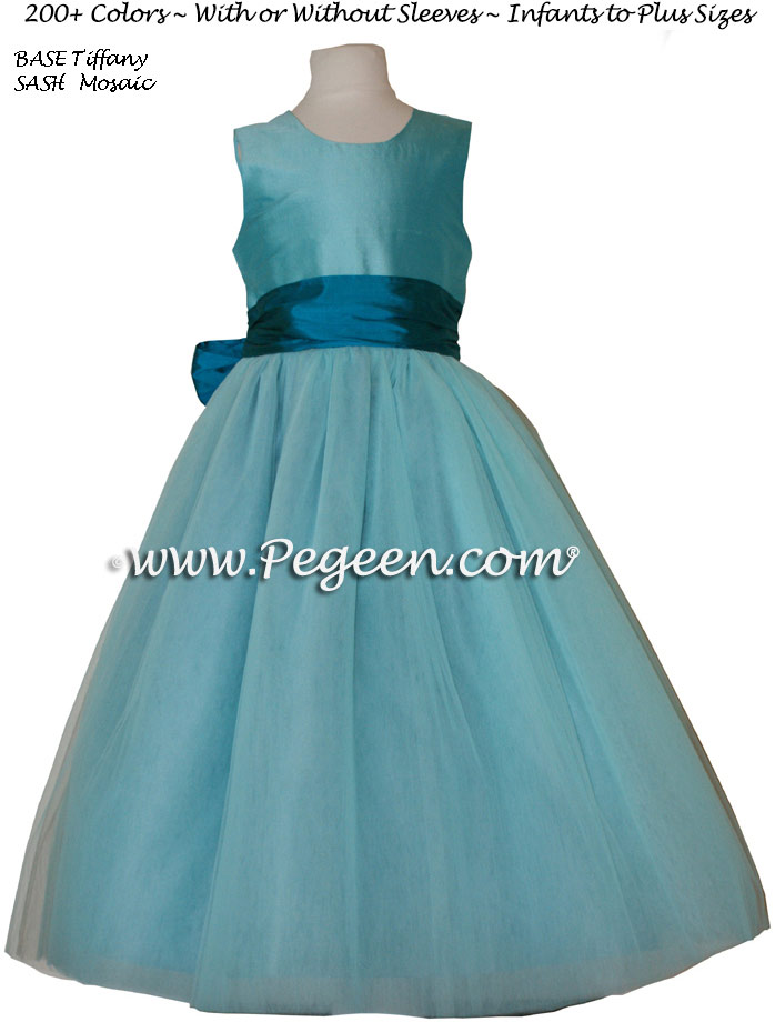 Flower girl dress in Tiffany blue and mosaic teal with tulle | Pegeen