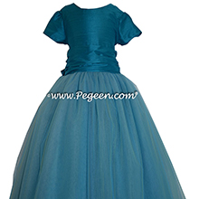 Mosaic (teal) Custom Tulle ballerina style Flower Girl Dress from Pegeen Couture