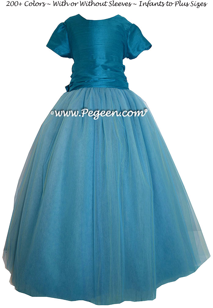 Mosaic (teal) Silk and  Tulle ballerina style FLOWER GIRL DRESSES with layers and layers of tulle