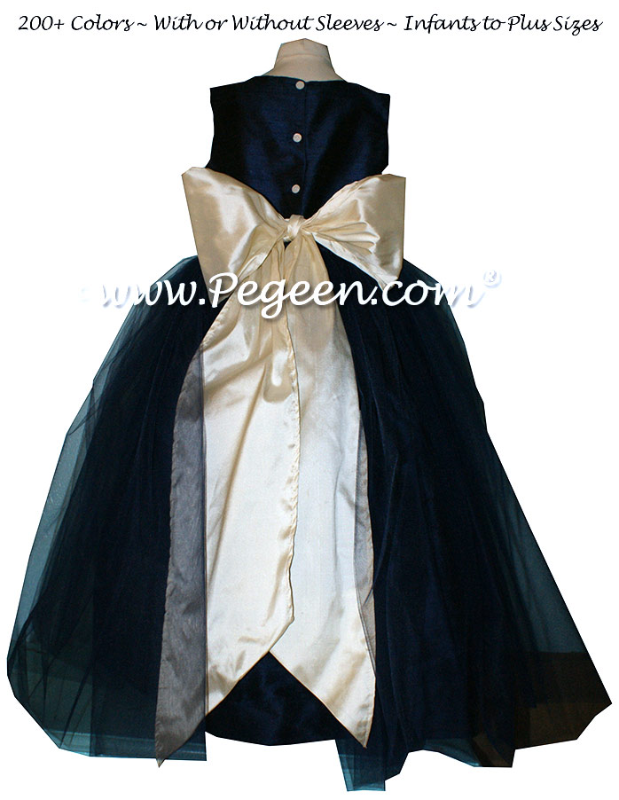 Flower Girl Dress With Layers And Layers Of Tulle In Navy And Buttercreme | Pegeen